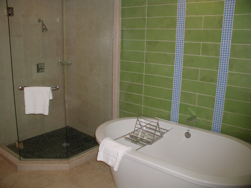 Master bath, two bedroom Bay Vista loft villa, Westin St John Resort