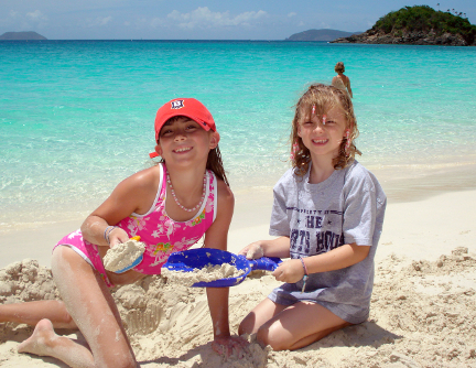 Kids on the beach, St John USVI
