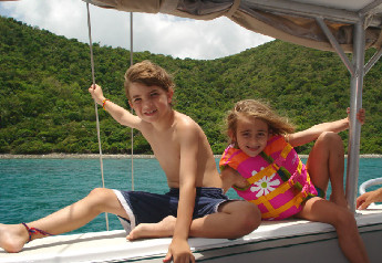 Kids boating on St John USVI