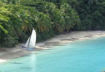 Catamaran on Hawksnest Bay Beach, St John USVI