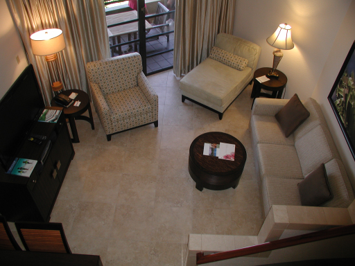 Living area of the one bedroom condo viewed from the loft, Westin St John Resort