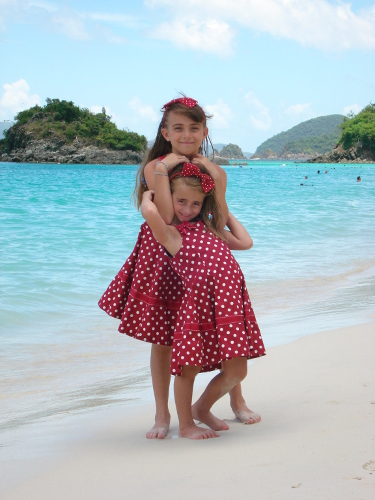 Kids posing on the beach, St John USVI