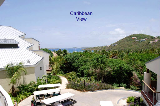The view from a main entry of the Bay Vista buildings, Westin St John Resort