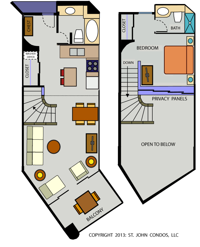 One bedroom loft floorplan, Westin St John Resort
